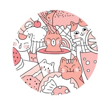 Cartone animato carino gatto e dolce vettore.
