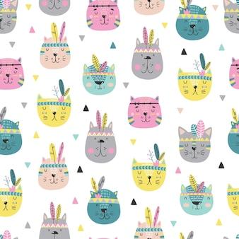 Cartoon simpatici gatti facce pattern in stile scandinavo.