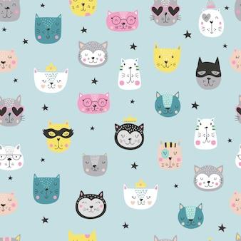 Cartoon simpatici gatti facce pattern in stile scandinavo. Vettore Premium