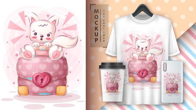 Gatto animale simpatico personaggio dei cartoni animati con poster diplomatico e merchandising vettoriale eps 10