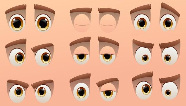 Collezione di occhi simpatico personaggio dei cartoni animati