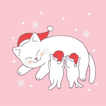 Cartone animato carino natale mamma e baby gatto vettoriale.