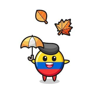 Cartone animato del simpatico distintivo della bandiera della colombia che tiene un ombrello in autunno, design in stile carino per t-shirt, adesivo, elemento logo