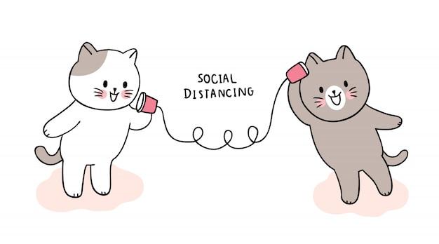 Simpatico cartone animato coronavirus, covid-19, gatti che parlano, distanziamento sociale.