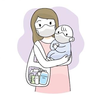 Simpatico cartone animato coronavirus, covid-19, madre e bambino