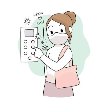 Simpatico cartone animato coronavirus, covid-19, donna e virus in ascensore.