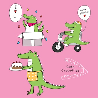 Cartone animato carino coccodrillo sorpreso buon compleanno.