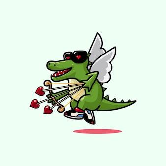 Simpatico coccodrillo cupido cartone animato con freccia d'amore