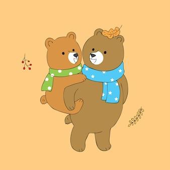 Cartone animato carino papà e baby bear vettoriale.