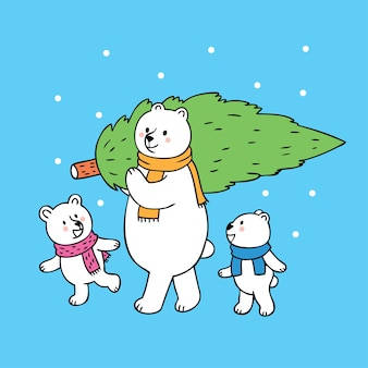 Cartone animato carino papà e bambino orso polare