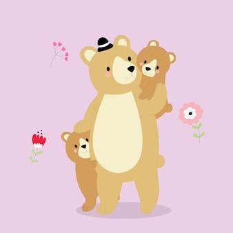 Cartone animato carino papà orsetto e orsetti.