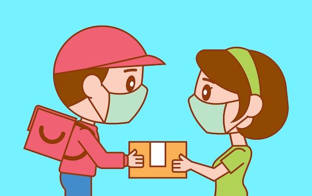 Cartoon carino fattorino consegna il pacco al cliente donna durante la pandemia