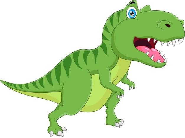 Cartoon carino dinosauro sorridente posa