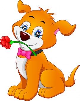 Cane sveglio del fumetto che morde un fiore