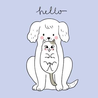Cartone animato carino cane e gatto vettoriale.