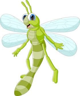 Cartone animato carino libellula isolato su sfondo bianco