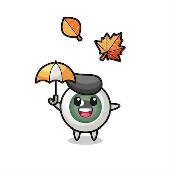 Cartone animato del simpatico bulbo oculare che tiene un ombrello in autunno, design in stile carino per maglietta, adesivo, elemento logo