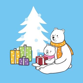 Cartone animato carino famiglia orso polare