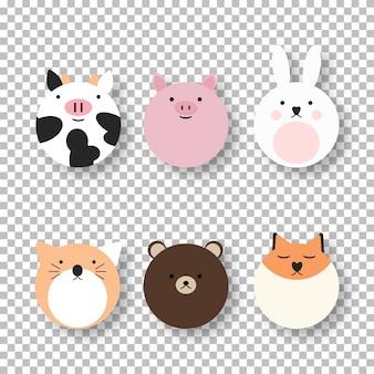 Cartoon carino collezione di animali da fattoria. modello di animali isolato illustrazione vettoriale. personaggio comico. insieme divertente del bambino.