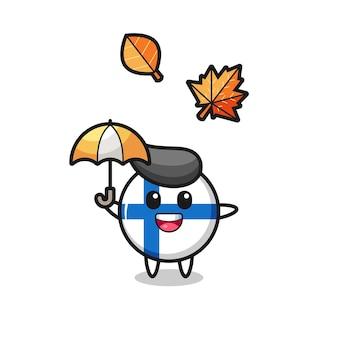 Cartone animato del simpatico distintivo della bandiera della finlandia che tiene un ombrello in autunno, design in stile carino per maglietta, adesivo, elemento logo