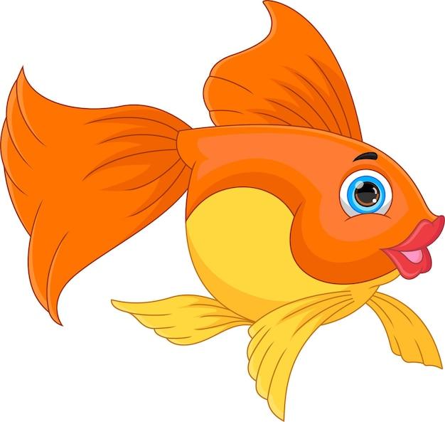 Pesce carino cartone animato isolato su sfondo bianco