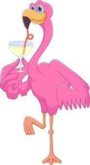 Fenicottero carino cartone animato che beve su sfondo bianco