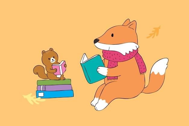 Vettore sveglio del libro di lettura della volpe e dello scoiattolo del fumetto.