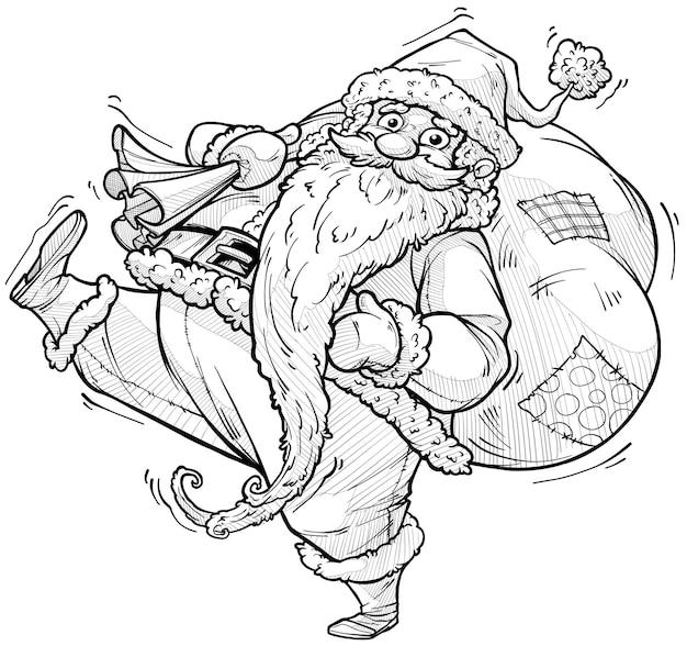 Cartoon carino divertente barbuto babbo natale in costume e berretto con grande scatola regalo regalo di festa. isolato su sfondo bianco. icona di vettore di capodanno e natale. schizzo di vettore in bianco e nero.