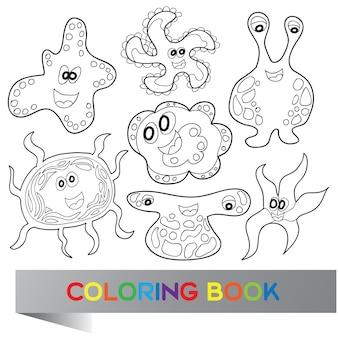 Mostri simpatici cartoni animati divertenti - libro da colorare vettoriale