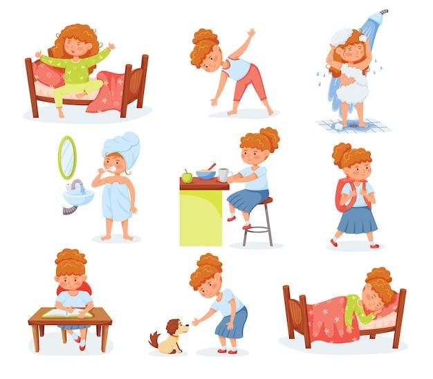 Cartone animato ragazza carina routine quotidiana e attività per bambini lavarsi i denti mangiare colazione studio vettore set