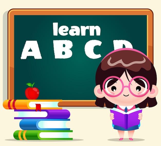 Cartone animato studentessa carina lettura con lavagna sullo sfondo