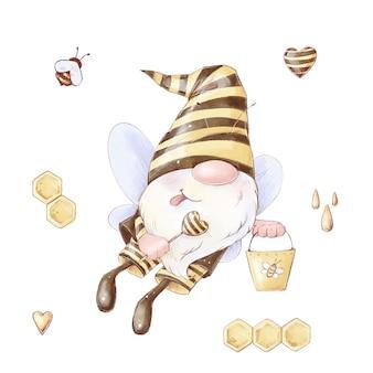 Cartoon carino gnome bee raccoglie miele. illustrazione dell'acquerello.
