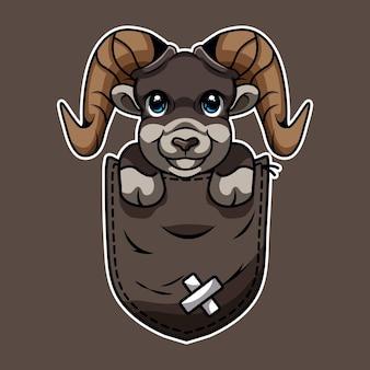 Cartone animato di una capra carina in tasca