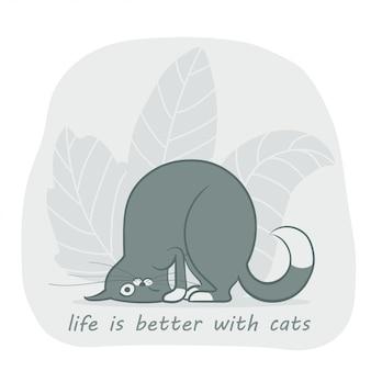 Un simpatico gatto grigio simpatico cartone animato contorto