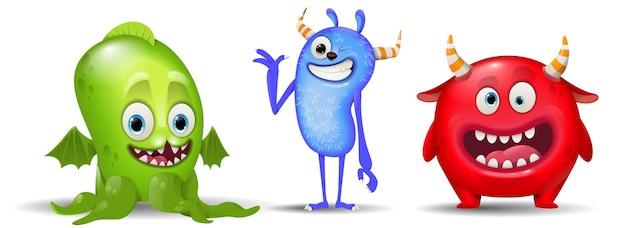 Set di mostri simpatici personaggi verdi, blu e rossi del fumetto