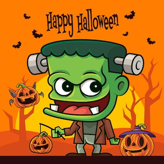 Cartone animato carino mostro verde che tiene lanterna di zucca al chiaro di luna e albero secco sullo sfondo