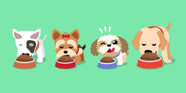 Simpatici cani felici dei cartoni animati con ciotole di cibo