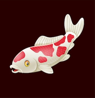 Pesce koi sveglio del fumetto sul nero