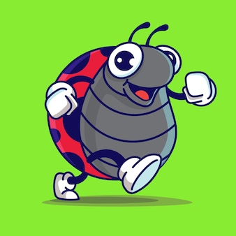Coccinella carina cartone animato che cammina