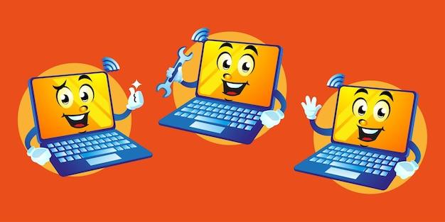 Cartoon carino mascotte del computer portatile