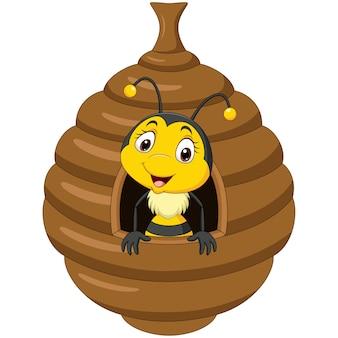 Cartone animato carino piccola ape all'interno dell'alveare