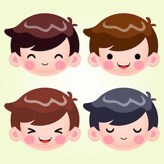 Cartone animato carino piccolo ragazzo testa avatar faccia emozioni positive insieme