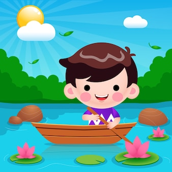 Cartone animato carino ragazzino cavalcando barca al fiume illustrazione