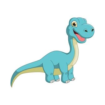 Cartone animato simpatico dinosauro brontosauro