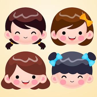 Cartone animato carino bambina testa avatar faccia emozioni positive insieme