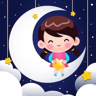 Cartone animato carino bambina seduta sulla luna e tenendo le stelle in grembo