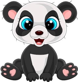 Cartone animato carino panda seduto