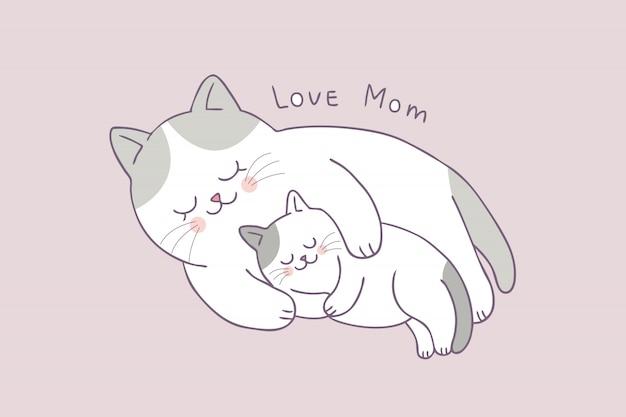 Vettore sveglio di sonno del gatto del bambino e della mamma del fumetto.