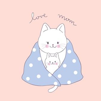 Cartone animato carino mamma e baby gatto vettoriale.