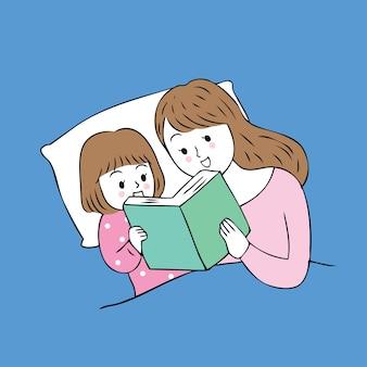 Libro di lettura sveglio della mamma e del bambino del fumetto sul vettore del letto.